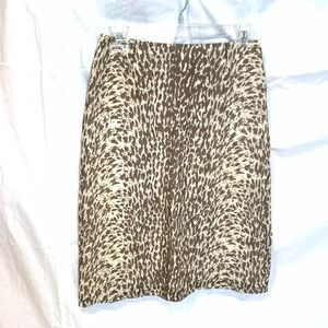 J Crew Black Label Brown Animal Print Silk Skirt